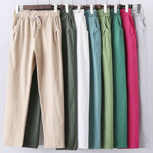 Candy Colors Summer Pants Women Lace Up Pantalon Femme Cotton Linen Sweatpants Casual Harem Pants Women Ladies Trousers C5212