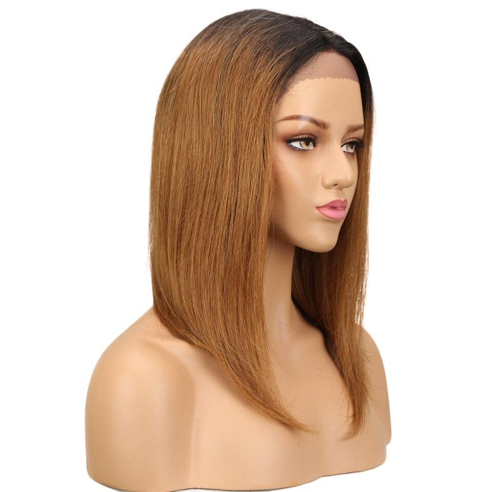 média do laço perucas de cabelo humano curto