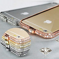 Alta qualidade de Luxo Coroa De Strass Cristal Bling Do Diamante Do Metal de Alumínio Bumper case capa para apple iphone 6 & 6 plus 5 5s