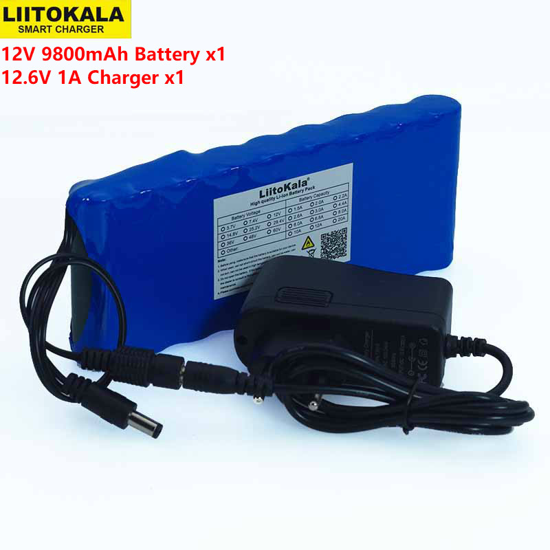 12 v 9.8Ah 9800mAh 18650 Rechargeable batteries 12V Li-Ion Battery pack Protection Board CCTV Monitor battery +12.6V 1A Charger ultrafire 16340 3 7v 880mah li ion rechargeable battery with protection board 4pcs pack