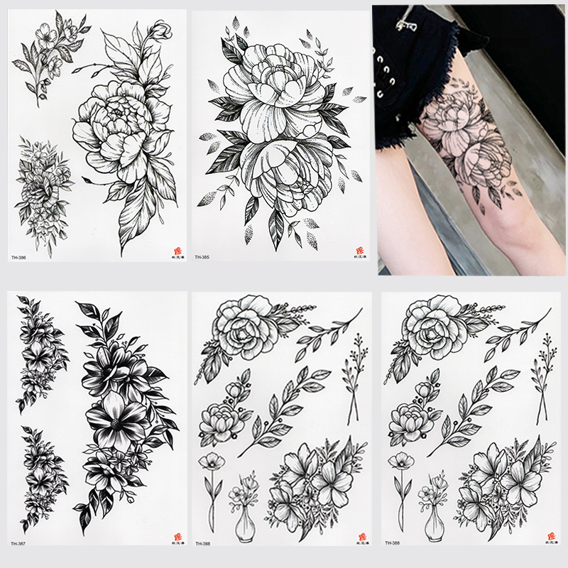 Rose Peony Flower Girls Temporary Tattoos For Women Waterproof Black Tattoo Stickers 3D Blossom Lady Shoulder DIY Tatoos