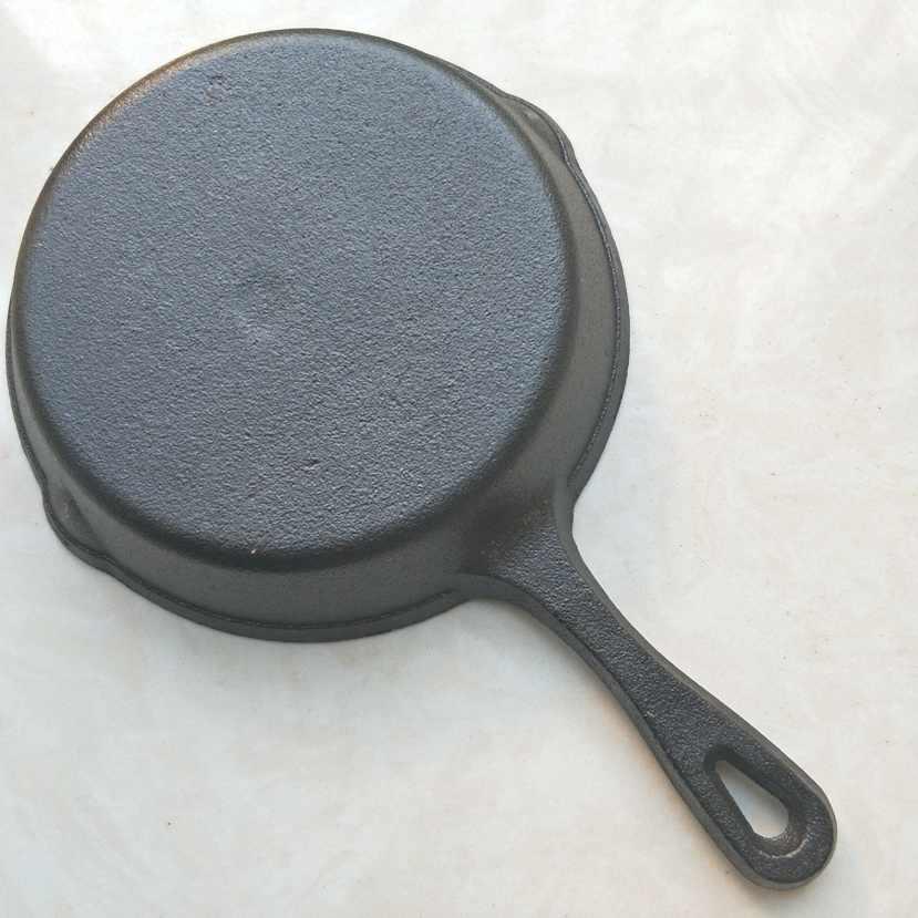 Pre - Seasoned 16 เซนติเมตรเหล็กหล่อ Skillet กระทะซิลิโคน Nonstick Griddle Grill Grill สีดำ (frypan - ยาว)