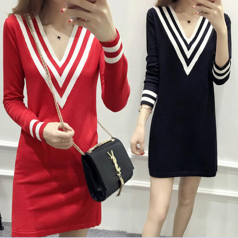 Women Sexy Loose Sweater Jumper Long Sleeve Knitted Pullover Stripe Edge Deep V Neckline Black Red long Knit dress sweater