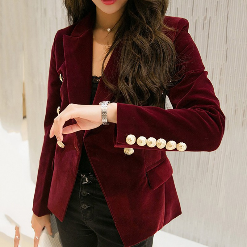 *2019 Autumn Velvet Blazer OL Formal Work Small Suit jacket Women Slim Long Sleeve ladies Blazers feminino Women Gold Button* H