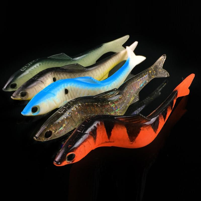 5Pcs lot 13cm 12 7g Lead Head PVC Fishing Lures Swimming Artificial Baits 3D Eyes Aluminum Lead Soft Lures Swimbait Wobblers in Fishing Lures from Sports Entertainment