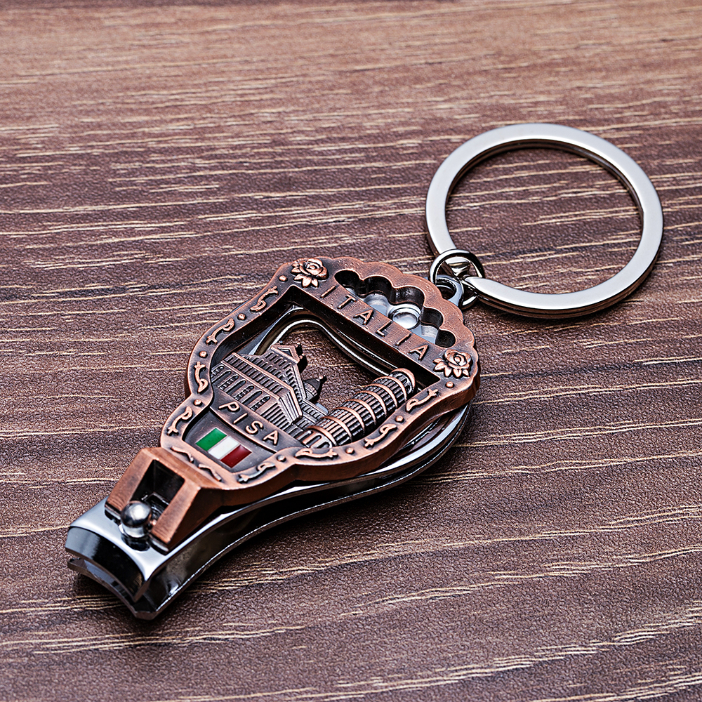 Vicney Newest Italia Vintage Nail Clipper Keychain 3D Relief Leaning Tower Of Pisa Florence Cathedral Key Chain Italy Souvenirs