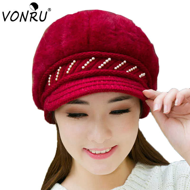 bc1436f3348 Fashion New Autumn   Winter Beanies Knit Hats For Women Rabbit Fur Velvet  Warm Beaded Pearl