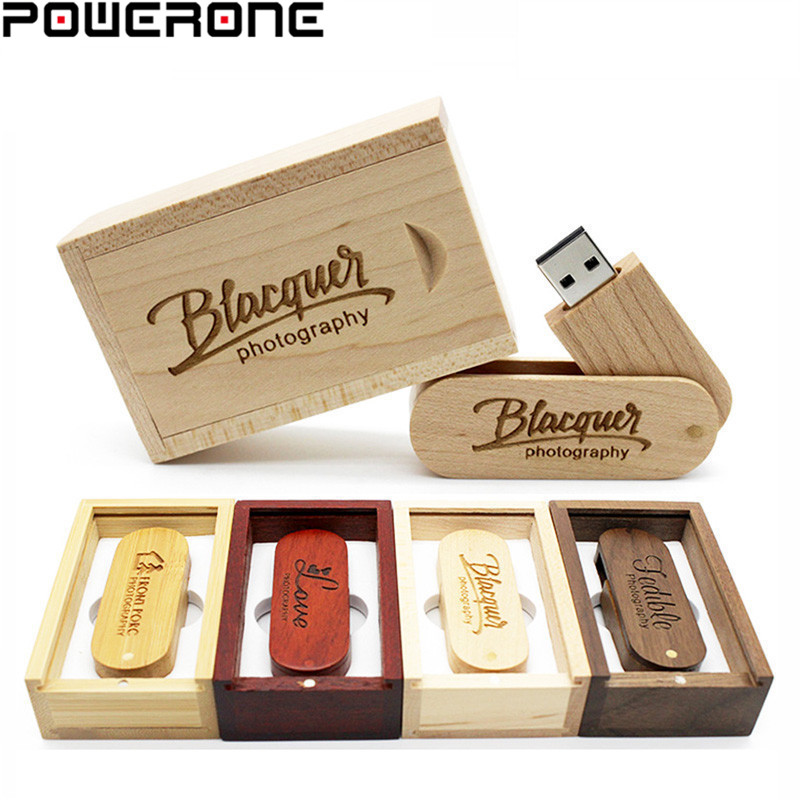 POWERONE Wooden USB Memory-Stick Flash-Drive Free-Logo Photography 32GB 16GB Usb--Box