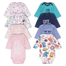 4 PCS/lot newborn baby bodysuits Long sleevele clothes O-neck 0-24M Jumpsuit 100%Cotton clothing Infant sets