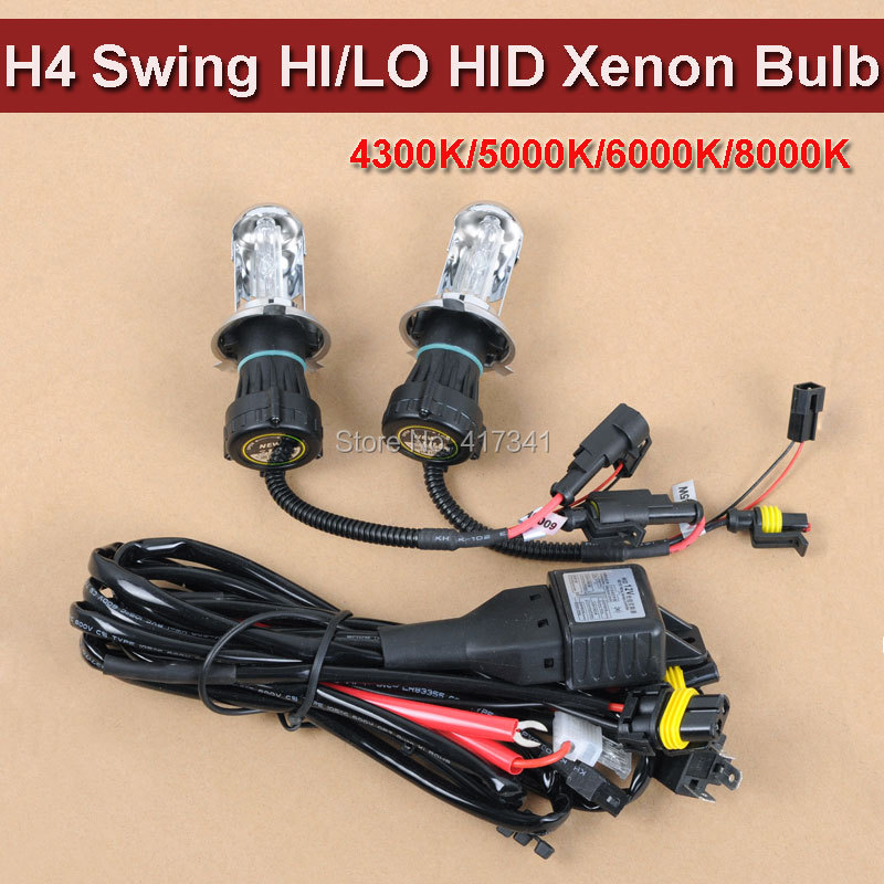 35W AC 12V Xenon Lamp High Beam and Low Beam H4 Swing HI/LO HID Bi Xenon Bulb 3000K 4300K 6000K 8000K with Wire Harness