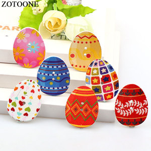 ZOTOONE 50PCs Mixed Wooden Buttons Easter Eggs Scrapbooking Buttons For Clothing 2 Hole Fit Sewing DIY Sewing Accessories Craft