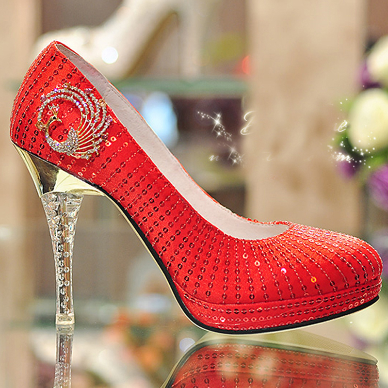 Red High Heel Wedding Shoes Glitter Crystal Heel Party Prom Shoes Bridal font b Dress b