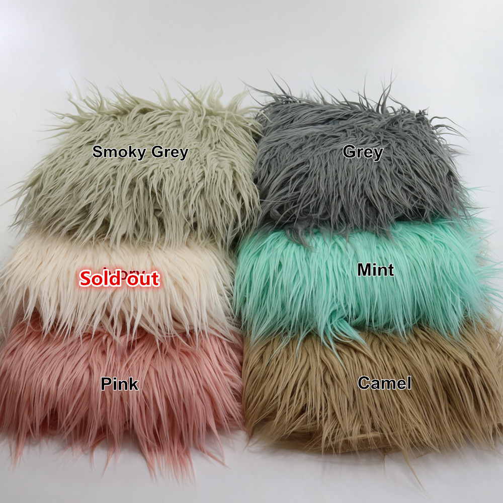 (75*50cm) Soft Long Pile Faux Fur MONGOLIAN FUR Blanket Basket Stuffer Newborn Photography Props BABY SHOWER GIFT Hot Sale