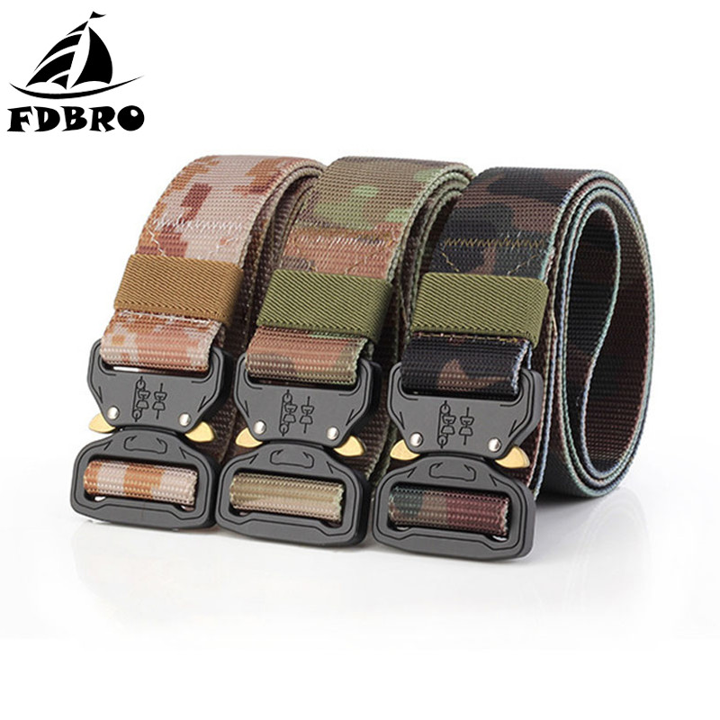 FDBRO Multifunctional Army Tactical Belt Metal Buckle Nylon Belt Tactic Hunting Camping Military Training Equipment Combat Belt multifunction tactical belt men s military belts 125cm length 3 8cm width army fans outdoor training nylon belt with buckle