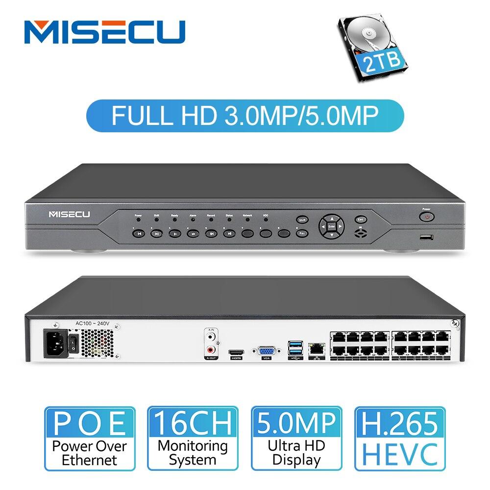 MISECU H.265 16CH 5MP 4MP 3MP 48 V Real P2P XMEYE NVR POE ONVIF Network Video Recorder para câmera IP POE sistema de câmera de CCTV com 4 TB HDD