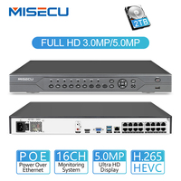 MISECU H.265 16CH 5MP 4MP 3MP 48 V Настоящее POE NVR XMEYE P2P ONVIF сетевого видео Регистраторы для POE IP система наблюдения ссtv с 4 ТБ HDD