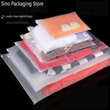 Купить с кэшбэком Matte Clear Plastic Storage Bag Zipper Seal Travel Bags Zip Lock Valve Slide Seal Packing Pouch For Cosmetic Clothing 10pcs/lot