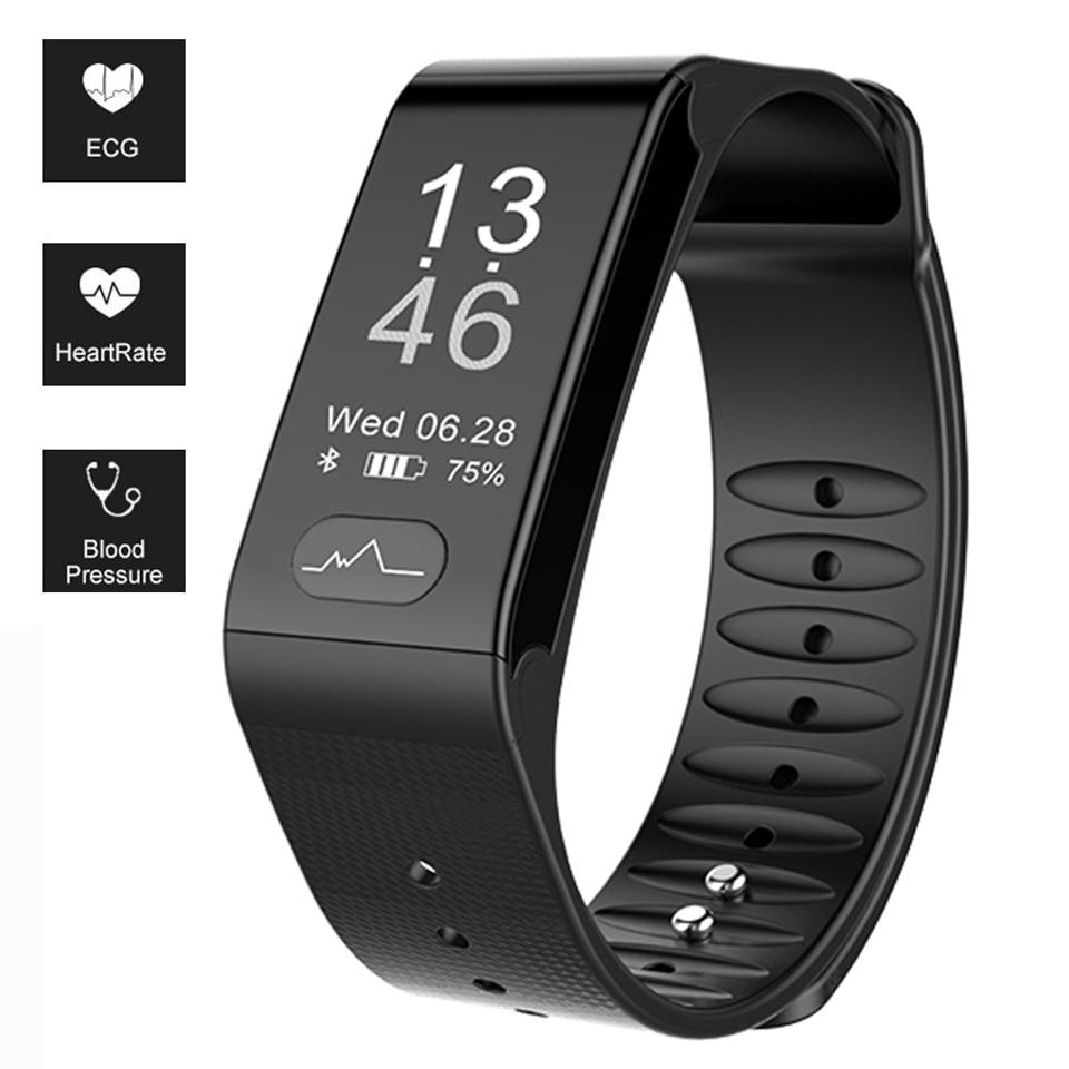 Sports Fitness Tracker Smart Bracelet T6 Heart Rate Monitor ECG Blood Pressure Fitness Band