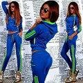 201 новые женские весенние и осенние костюмы отдыха с длинными рукавами фитнес спортивная женщины вертикальные полосы свитер костюм
