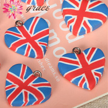 10pc lots 23mm Clay Fimo England Flag Love Heart Shape Hang Beads Diy Special Festival Pendant
