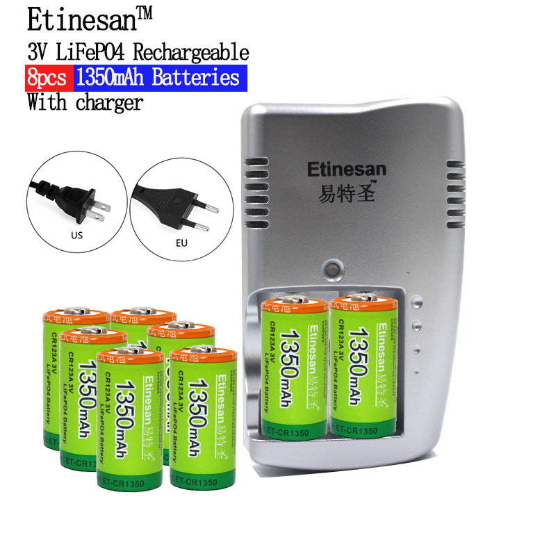 8pcs Etinesan 1350mAh 3v CR123A rechargeable LiFePO4 lithium battery Flashlight, camera, shaver, radio, remote control horn, fan