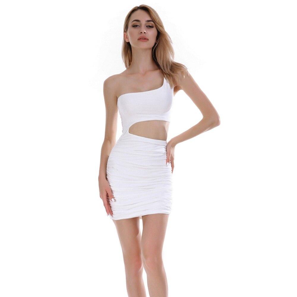 Летнее короткое платье женское сексуальное на одно плечо выдалбливают платья для вечеринок Тонкий Bodycon вечернее черный белый посылка бедра...