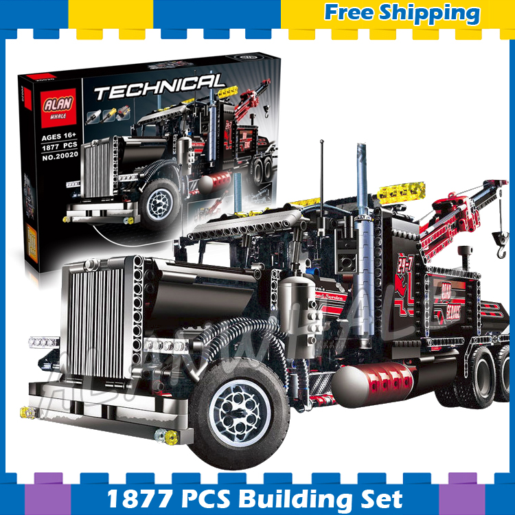 1877pcs Techinic 2in1 Tow Truck 20020 DIY Model Building Kit Blocks Gifts Transport Car Carrier Loader Sets Compatible With lego 720pcs techinic 2in1 motorized container