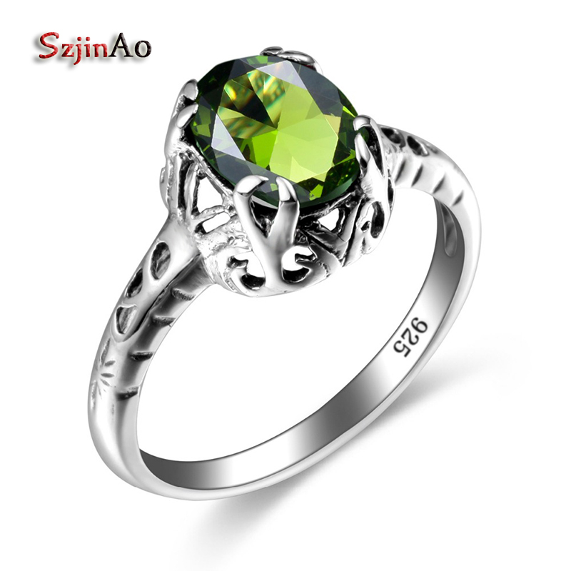 Szjinao Oval Silver Crown Rings Silver 925 Jewelry Rock Vintage Created Peridot Couples Engagement Rings Top Custom Processing