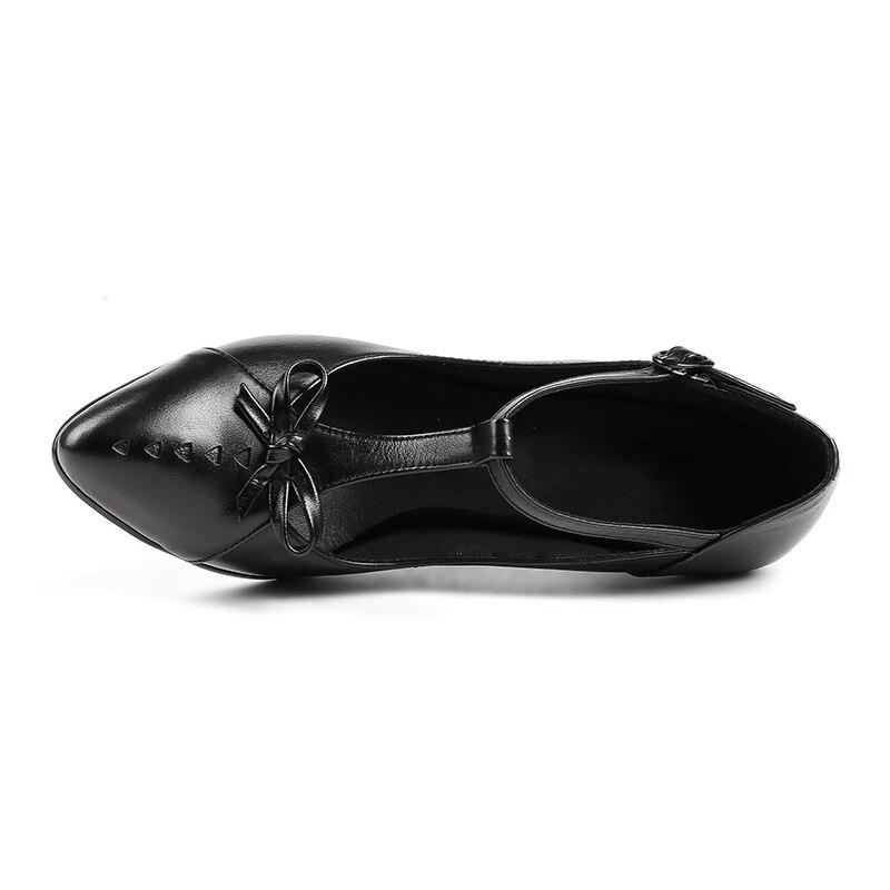 En Chaussures 34 Hauts À Pompes Liée Noir Spike Bout Véritable T Bowknot Taille 39 De Talons Cuir marron Femmes Nightcherry Pointu Mode q7xt5wUO5