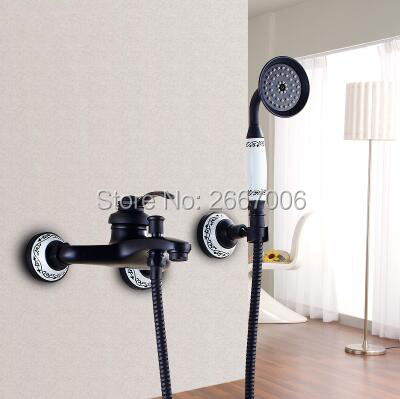 Free shipping Wall Mount Shower faucet Black Plating Shower Faucet Set Bathroom Faucet Set Bathtub Tap With Ceramic Base ZR036 free shipping bathtub faucet wall mount bathroom brass thermostatic constant temperature control shower valve faucet tap zr954