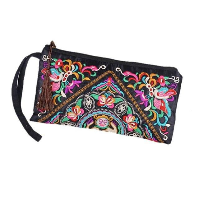 Bolso de mano con bordado étnico bohemio Retro para mujer