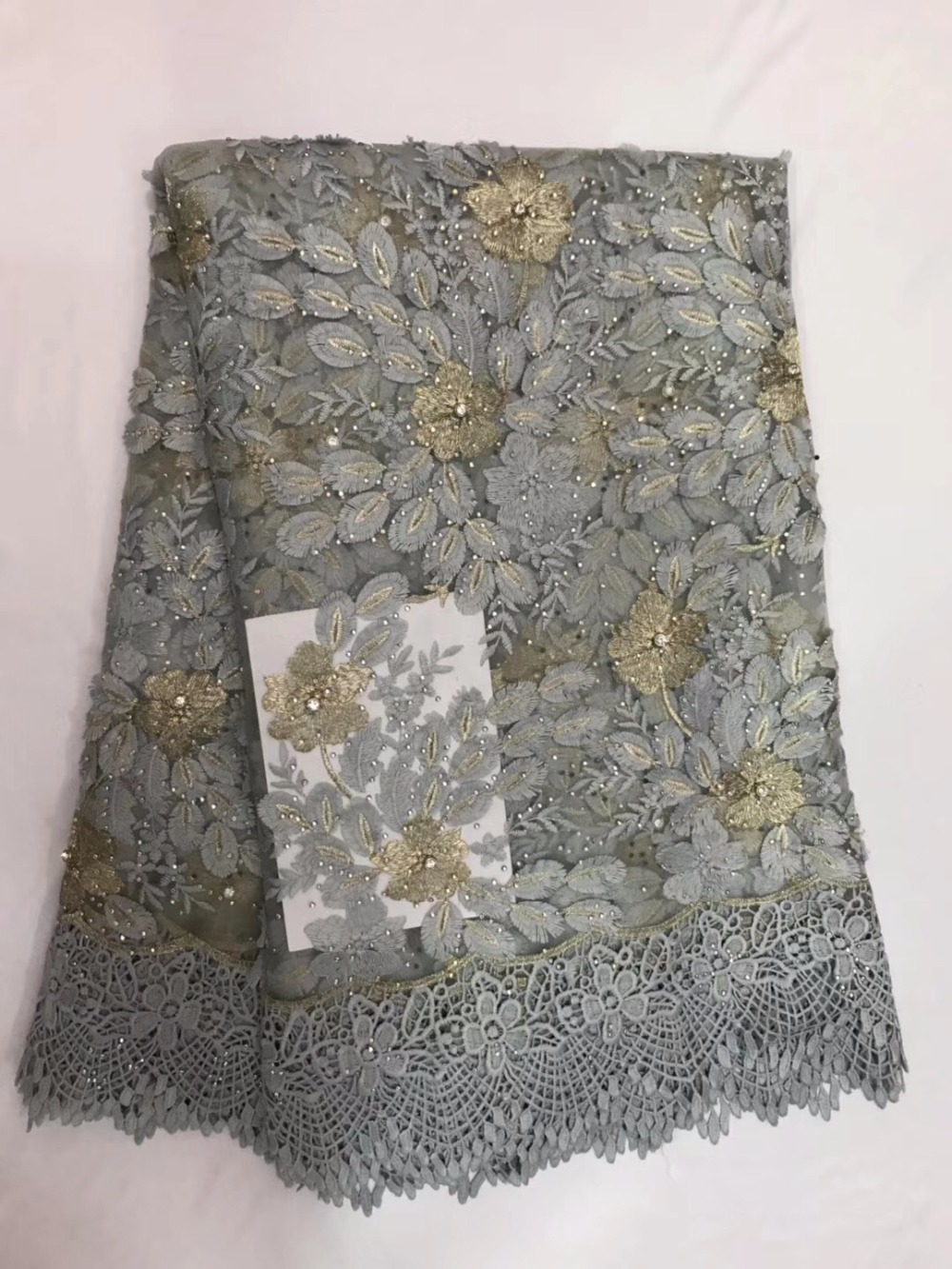 High Quality Imported Wholesale 100%Polyester African Grey Tulle Lace French Net stones Lace Fabric For WeddingHigh Quality Imported Wholesale 100%Polyester African Grey Tulle Lace French Net stones Lace Fabric For Wedding