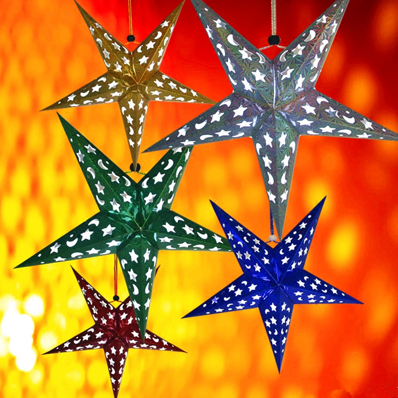 AJP Ziemassvētku rotājumi pentagramma lāzera papīra zvaigznes ballītes bāra dekorēšanai bērnu dzimšanas dienas svinības Jaungada preces