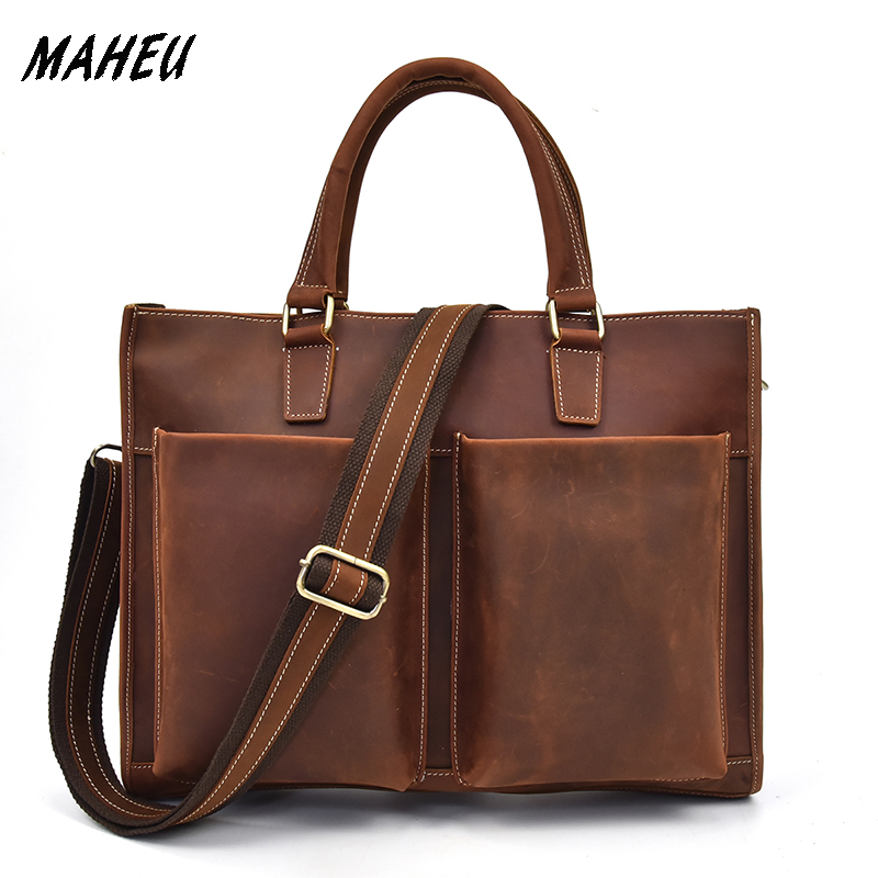 Vintage Men Crazy Horse Genuine Leather Business Bag Cow Leather Male Laptop Bag Multifunctional Work Tote Briefcase