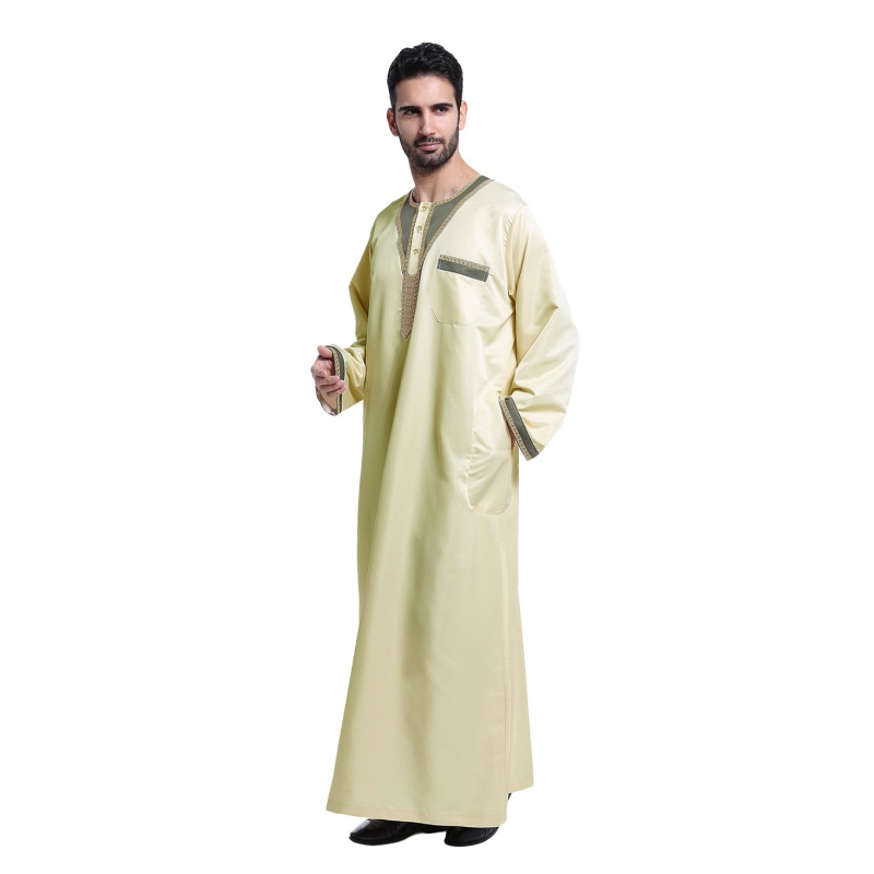 2017 Fashion Men Saudi Style Thobe Thoub Abaya Robe Daffah Dishdasha Islamic Arab Kaftan Muslim Clothing For Men Hot