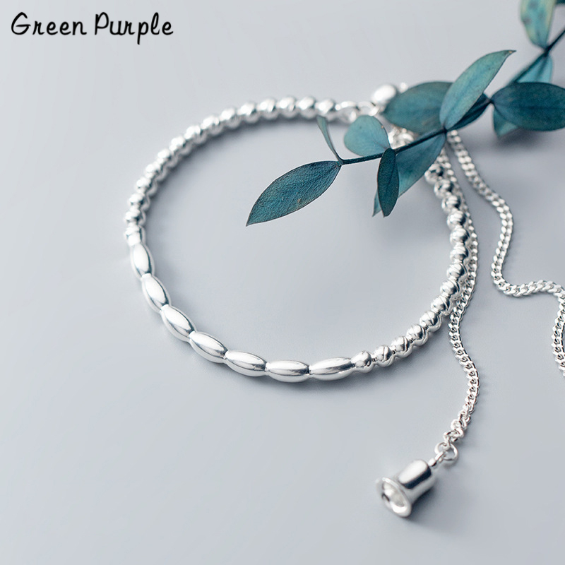 925 Silver Bell Bracelet Christmas Jewelry Charm Bracelet Bijoux Minimalism Bangles Vintage Boho Joyas Silver Bangles for women