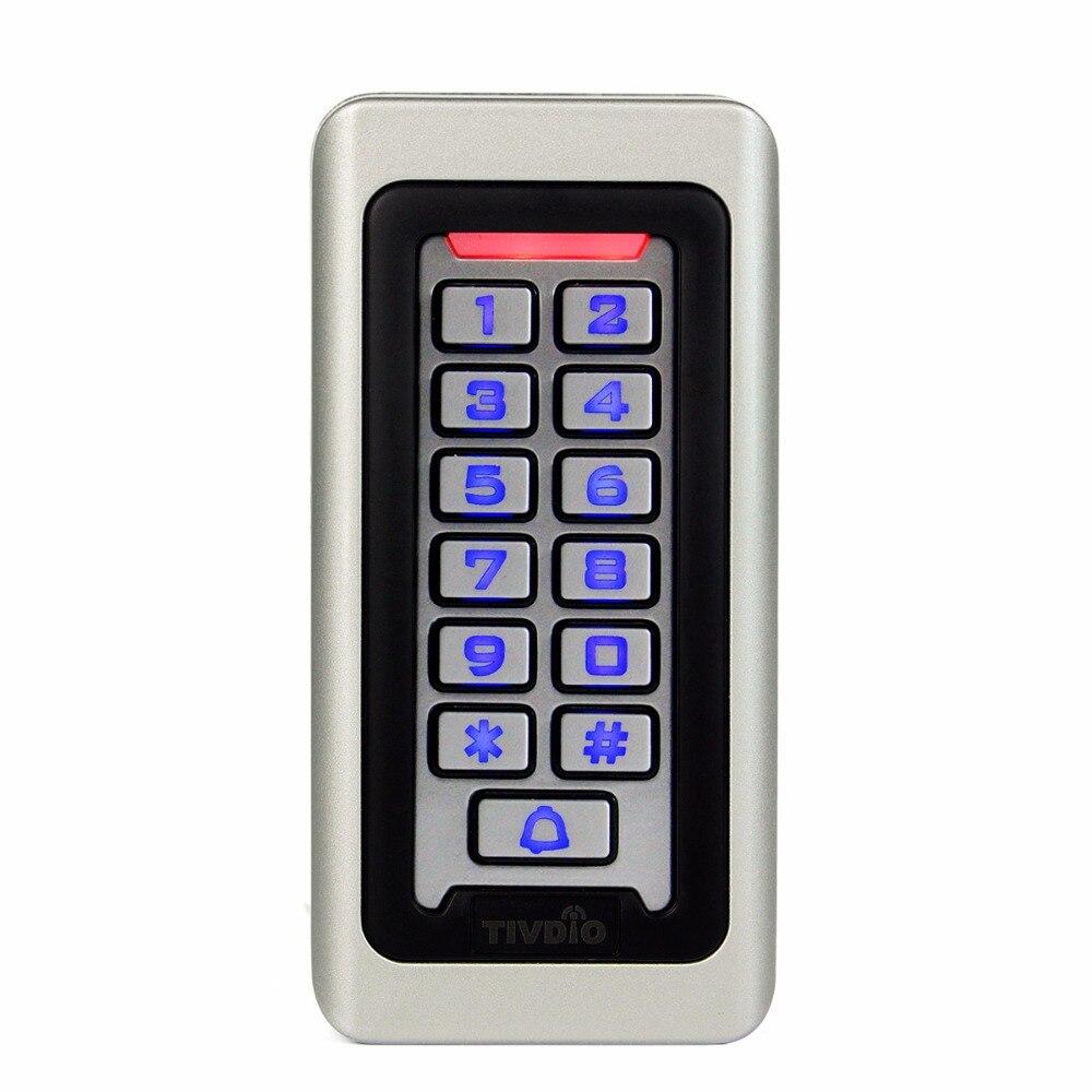 Sistema de Control de Acceso de puerta Rfid TIVDIO teclado metálico resistente al agua 125 Khz tarjeta de proximidad Control de acceso independiente con 2000 usuarios