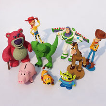 9 unids/lote Toy Story zumbido lightyear leñador osito de peluche Rex dinosaurio pequeño hombre verde figura Juguetes