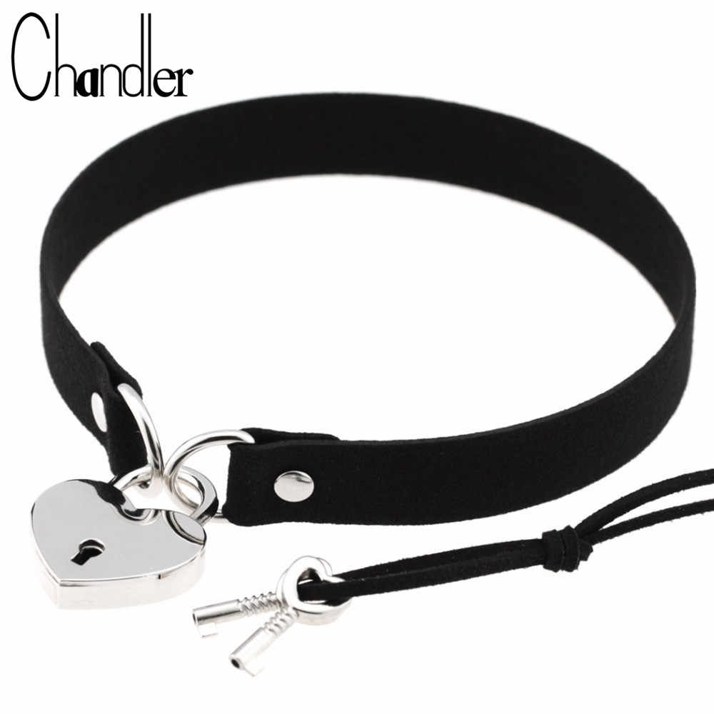 Chandler Heart Lock Velvet Pu Leather Choker Necklace Gothic Punk Harajuku Collier With Key Jewelry Fashion Women Love Accessary