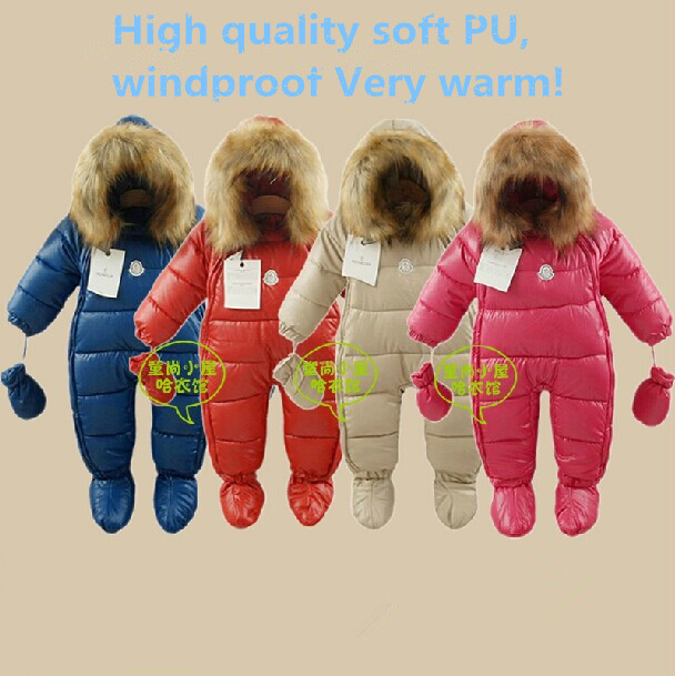 Nuevo 2015 mameluco del invierno ropa de bebé suave de LA PU bebé recién nacido bebé caliente de los mamelucos de algodón grueso mono niños prendas de vestir exteriores