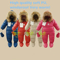 new 2015 winter romper baby clothing soft PU newborn baby girl thick cotton rompers baby boy warm jumpsuit children outerwear