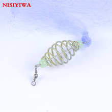 Wholesale 10x Bottom/Float Fishing Net Small Mesh with Copper Spring Luminous Beads Swivel Connector Shoal Explosion Fishing Net