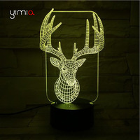 YIMIA Deer Antlers 3D Night Lights Luminaria Sensor USB LED Remote Table Lamps Home Decor Lampe