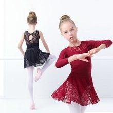 Обувь для девочек Дети Кружево балетное платье черный Гимнастика купальник хлопок Балетные костюмы купальник танцевальная одежда для детей