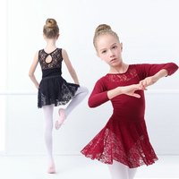 Girls Kids Black Gymnastics Leotards Black Swan Ballet Dance Costumes With Lace Skirts