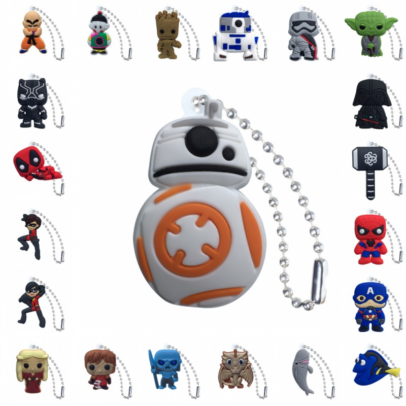1pcs PVC Keychain Cartoon Figure Star Wars Game Of Thrones Marvel Avenger Metal Ball Chain Key Chain Ball Chain