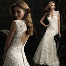 Sleeveless Bride Dress Sexy V Lead Lace Appliques Back With Buttons Customized Mermaid Backless Court Train Hot Wedding Dresses