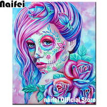 Full Square/Round Drill 5D DIY sugar skull diamond painting Sugar Skull Girl mosaic full embroidery Cross Stitch Home Decor