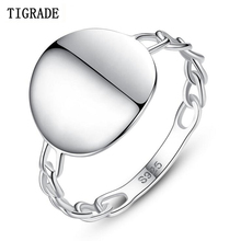 Tigrade Simple 925 Sterling Silver Ring for Women Round Shiny Rings Jewelry Unique Girls Anniversary anillos mujer