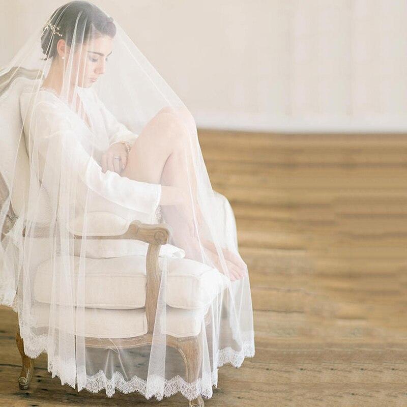 654521733b Una capa de velo de novia princesa accesorios de la boda de encaje borde  Catedral velos hecho a mano
